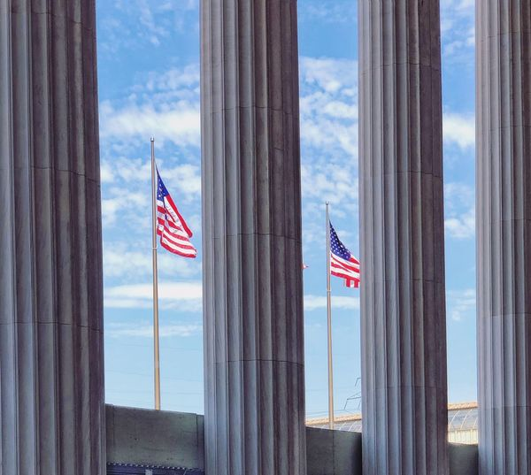 Patriotism Flag Sky Striped Architecture Nature No People Pride Built Structure Emotion Building Exterior Cloud - Sky National Icon City