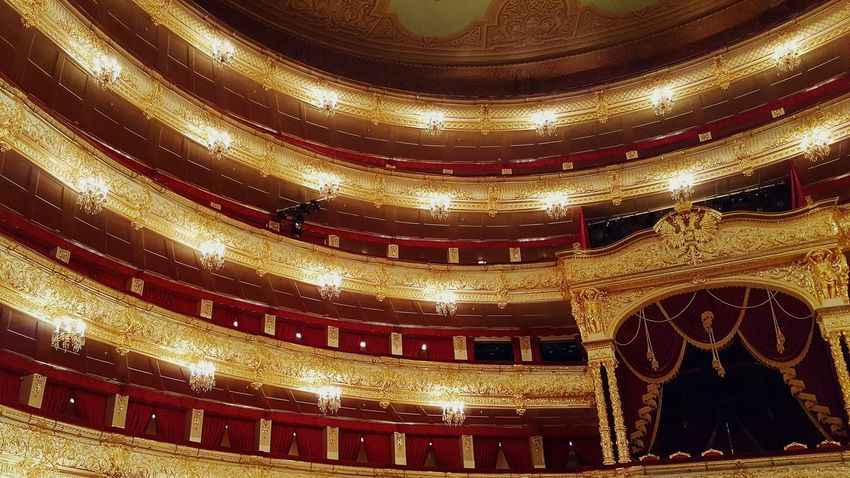Gold Colored Pattern No People Illuminated Indoors  Gold Gold Seats Royal Box Symmetry Built Structure Bolshoi Theatre Bolshoi Theater Theatre Theater Social Life Travel Destinations Russia Moscow Arts Culture And Entertainment Architecture Indoors