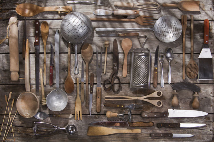 Directly above view of various objects on wooden table