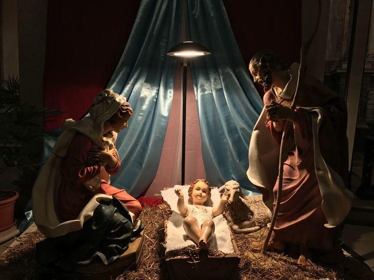 Nativity scene Nativity Scene Boys Childhood Curtain Friendship Full Length Indoors  Night People Sculpture Statue Togetherness