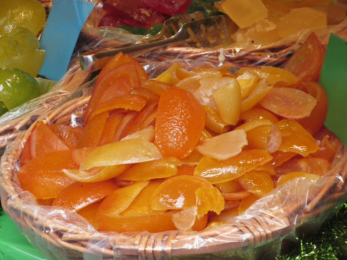 Sweet candied orange peels . Italian recipe Bitter Candied Citrus  Cooked Dessert Dried Flavour Fruit Gourmet Homemade Honey Italian Food Juice Lemon Orange Organic Peel Recipe Sicilian Food Snack Strips Of Fruit Succade Sugar Sweet Syrup