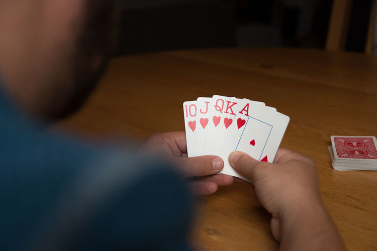 Arrangement Cards Gambling Holding Person Personal Perspective Playing Poker