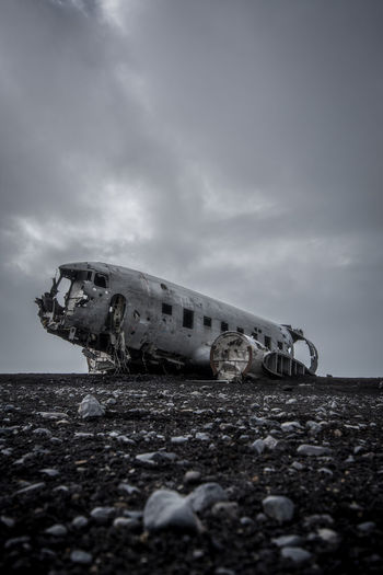 Abandoned Accidents And Disasters Air Vehicle Airplane Beach Cloud - Sky Crash Damaged Day Demolished Deterioration Land Mode Of Transportation Nature No People Obsolete Old Outdoors Ruined Run-down Sky Transportation Travel