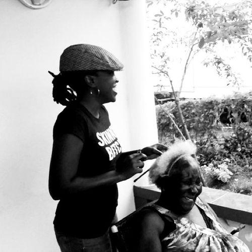 Family @noirBlackandwhite Blancoynegro Granny Wife Hair Comb Smiles Love Happy Grenada Islandlivity Islandlife