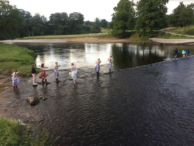 Real People Water Medium Group Of People Tree Leisure Activity Day Boys River Lifestyles Outdoors Men Enjoyment Standing Togetherness Nature Childhood Women Playing Sport Sky Bolton Abbey Stepping Stones
