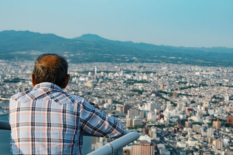 EyeEm Selects City Cityscape Rear View Tourism Vacations Travel Destinations Travel City Life Only Men Leisure Activity People Adult One Person Adults Only Men Architecture One Man Only Outdoors Day Hakodate Hokkaido Japan Lost In The Landscape