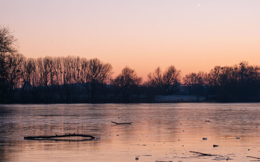 Beauty In Nature Tree No People Outdoors Frozen Nature Frozen Lake Sunset_collection Winter Trees Ice Sky Nature EyeEmNewHere EyeEm Nature Lover Tranquility Tranquil Scene Trees And Sky Lightroom Mood Lakeside Park Branches And Sky