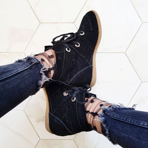 Sneakers Jeans Fashion Socks Polka Dot Young Women