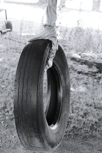 Just-a-swingin' old tire Hanging Out Kids Delight
