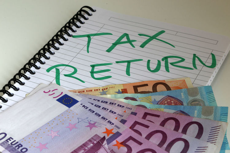 Euro Bills Savings Wealth Currency Euro Tax Return Tax Day March White Background Reminder Tax Day Tax Refund Office Envelope High Angle View Paper Currency Indoors  Bribe Euro Bank Notes