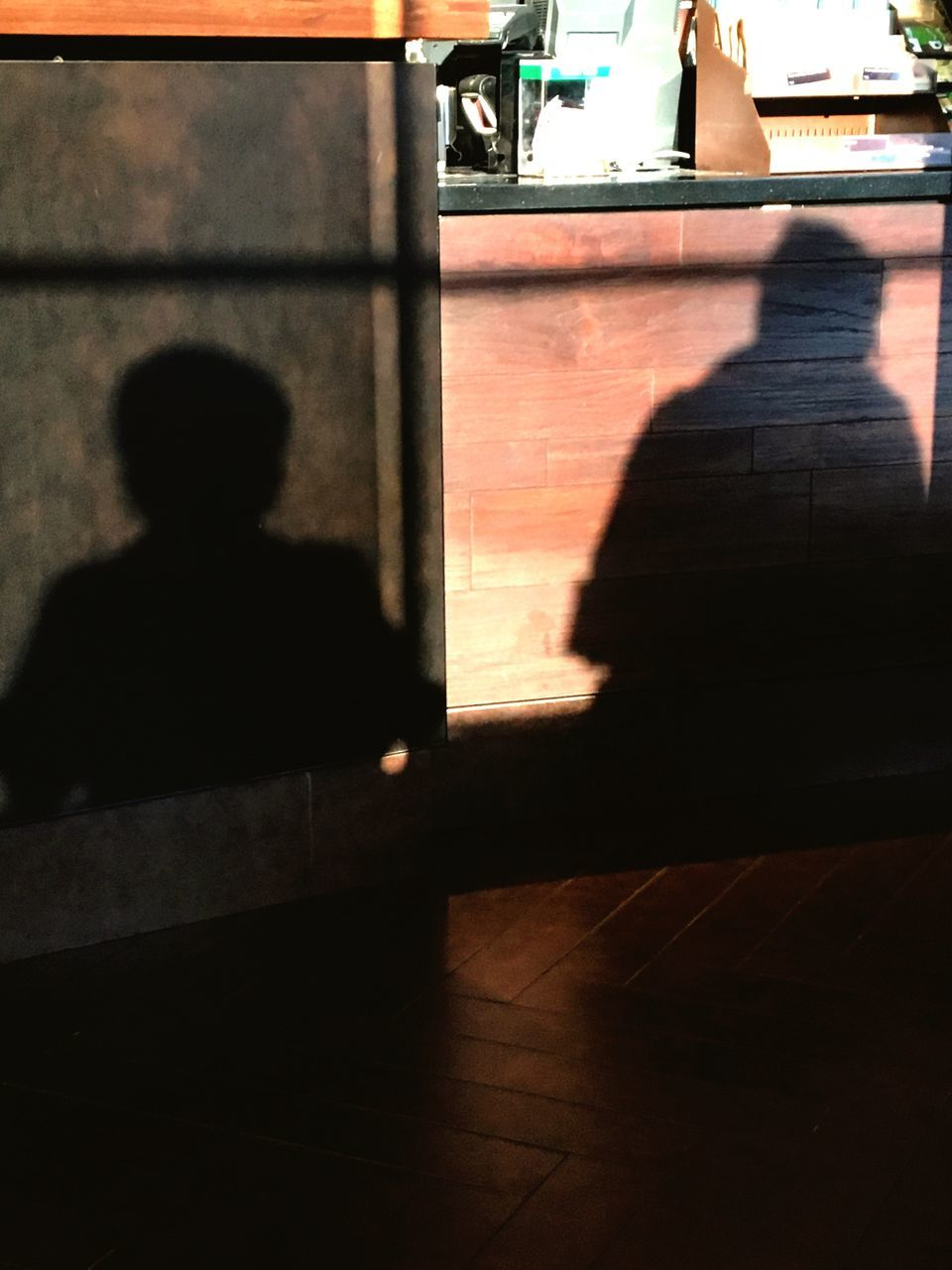 shadow, sunlight, real people, silhouette, two people, sitting, men, sunshine, day, indoors, architecture, friendship, people