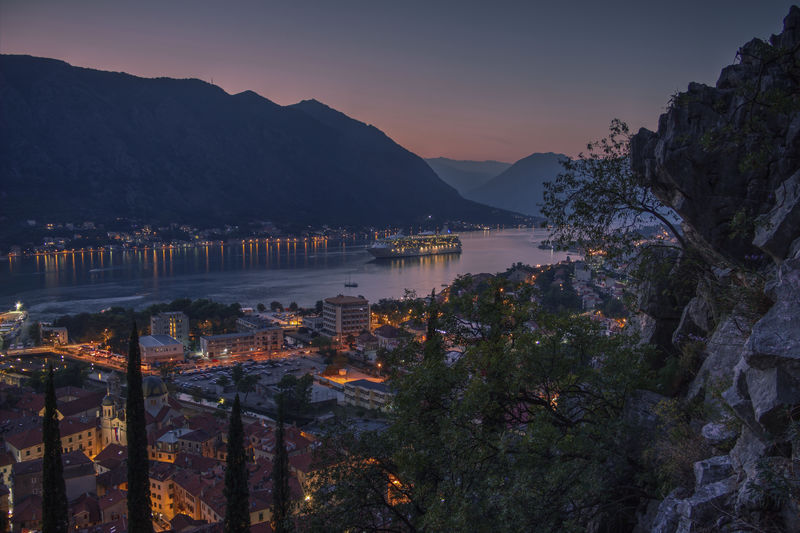 Montenegro, panoramic view of the town of kotor and the bay carrying the same name at twilight