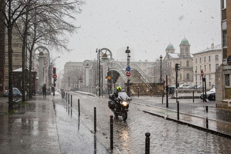 View of wet street in winter