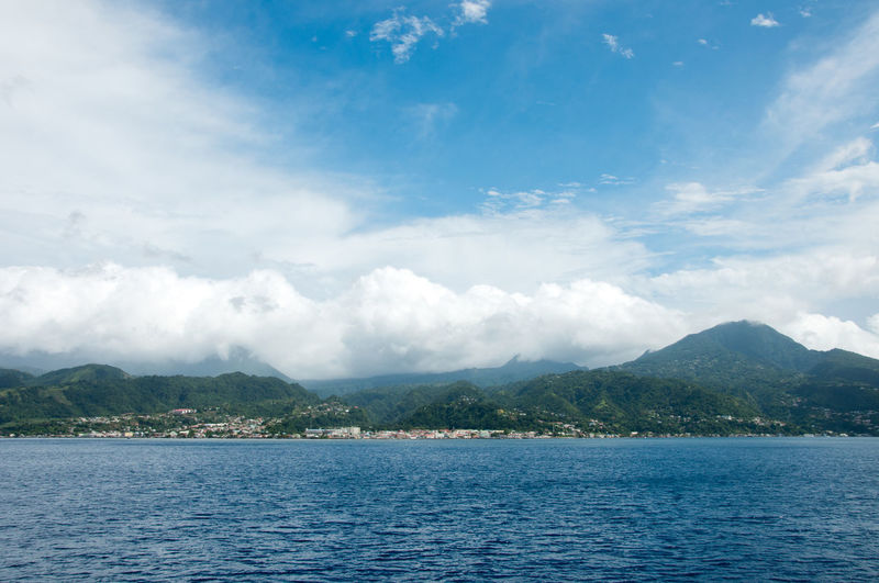 Dominica Beauty In Nature Blue Carribean Carribean Sea Cloud - Sky Day Lake Landscape Mountain Mountain Range Nature No People Outdoors Scenics Sky Tranquil Scene Tranquility Tree View Into Land Water Waterfront