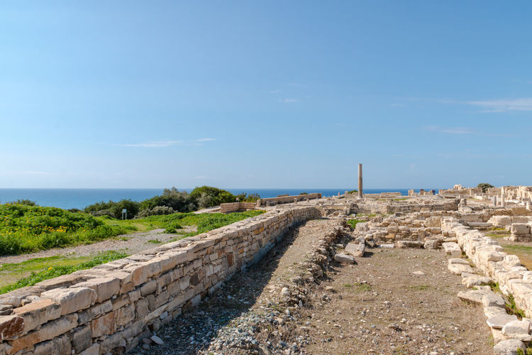 Ruins of the ancient city, Cyprus, Kourion Ancient Archeology Cyprus Cyprus. Kourion Paphos UNESCO World Heritage Site Archeological Site Architecture Blue Built Structure Column Day Destination Horizon Horizon Over Water Kourion No People Outdoors Ruin Sea Sky Spring Stone Stone Wall