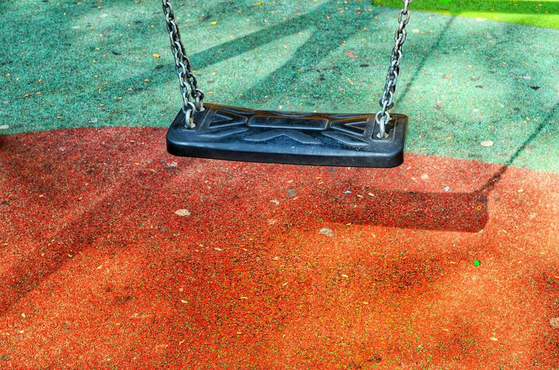 High angle view of empty swing