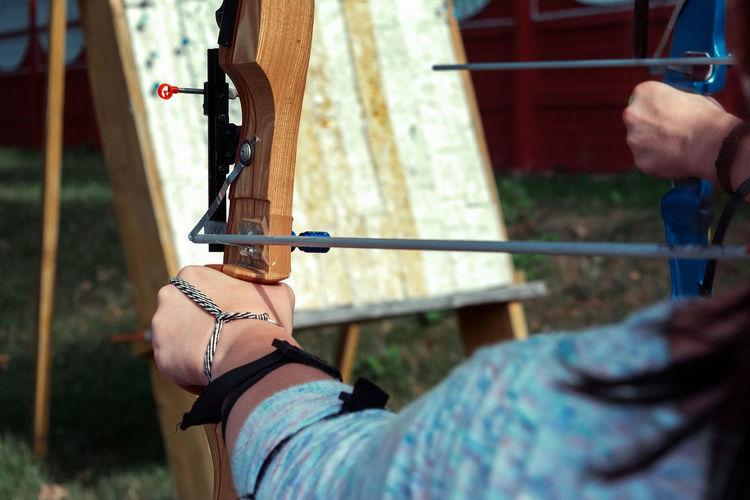 archery Aiming Archery Archery Girl Archery Lesson Bow Shooting Girl Hand Shooting