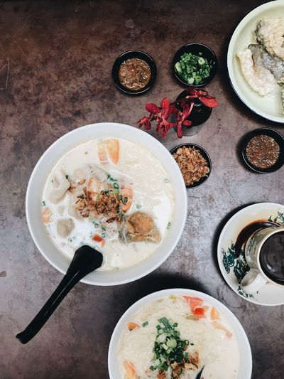 Chinese food. Soup noodles Food Food And Drink Table Directly Above Plate Freshness Still Life High Angle View Healthy Eating No People Ready-to-eat Seafood Meal Wellbeing Serving Size Fish Spice Indoors  Bowl Vertebrate