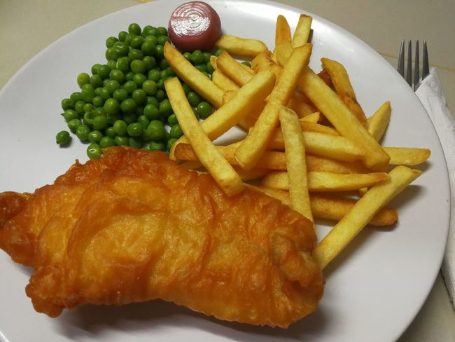 Green Peas Fish And Chips... French Fries Round White Dinner Lunch Green Cooking Kitchen Restaurant Meal Fish Dough Red Onion Flour Prepared Potato French Fries Food Fried Food And Drink Unhealthy Eating Deep Fried  Ready-to-eat Plate Indoors  Freshness Close-up Day No People