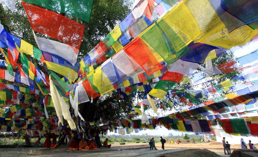 Multi Colored Outdoors Nature Nepal Mayadevi Mayadevi Temple Lumbini, Nepal The Birthplace Of The Lord Buddha Linden Tree Tarchog Lungda Five Colors Flag