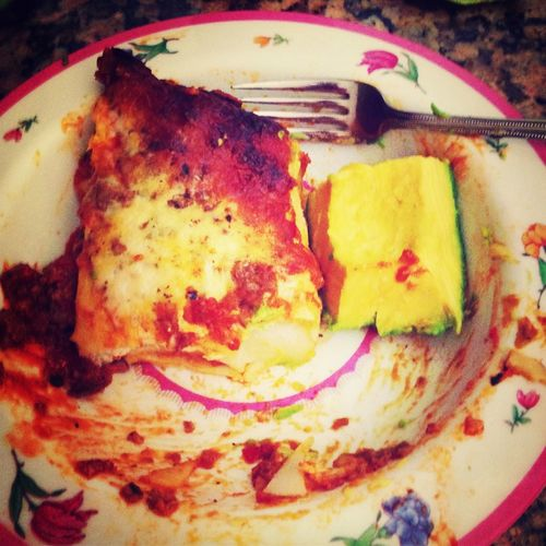 Lasagna and avocado thanks to marlons amazing mom.