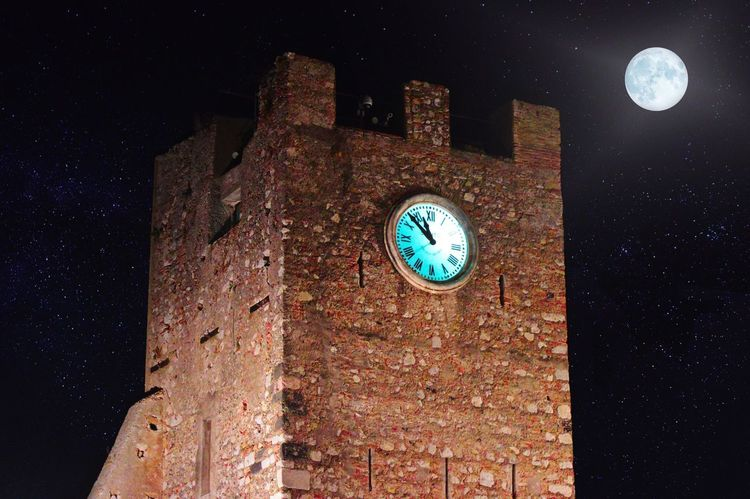 night castle Tower Torre Orologio Illuminated Fortress Hostorical Torre Fortezza Castello Luna Notturno Tetro Moon Moonlight Stars Castle Night Astronomy Clock Galaxy Clock Face Star - Space Constellation Time Space Astrology Sign