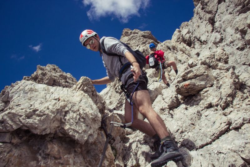Adventure RISK Extreme Sports Rock Climbing Hiking Climbing Mountain Adult Ferrata  Beauty In Nature Real People Backpack Ferrata  Outdoors Steep Nature Italy Done That.