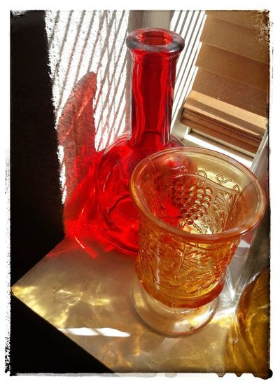 Red, yellow and light Light-Play Eye4photography  Getting Inspired Eye4enchanting ExpressYourself Happiness Atmospheric Mood Glass_collection Coloured Glass Bottles