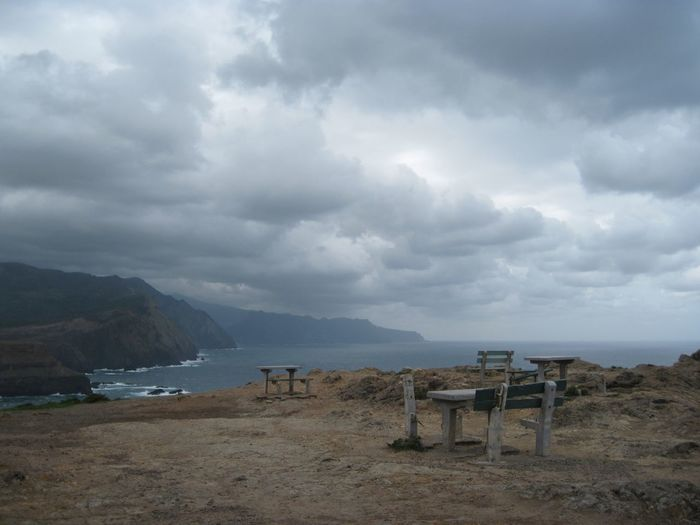 Abandoned Beauty In Nature Cloud - Sky Clouds Day Madeira Mountain Nature No People Outdoors Picknickbench Ponta De São Lourenço Scenics Sea Sky Tranquil Scene Tranquility Water Travel Destinations The Secret Spaces Lost In The Landscape