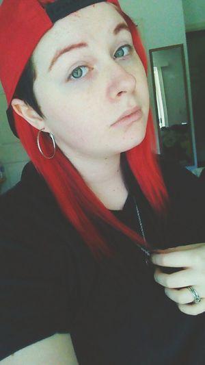 Dyed Hair Redhead Red Hair Eyebrows Eyes Green Eyes Self Portrait Selfie Snapback Sidecut Freshly Shaved Black And Red