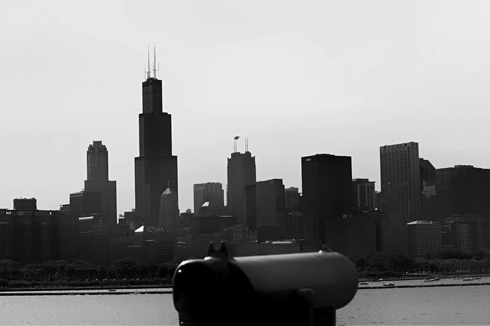 Adler Planetarium Architecture Chicago Architecture City View  Skyline Willis Tower Sears Tower Black And White Downtown Chicago Urban Skyline Noir Et Blanc Cityscape Black And White Photography Black & White