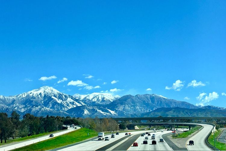 On The Road Sky Mountain Day Snow Transportation Nature Road Winter Mountain Range Snowcapped Mountain Scenics - Nature