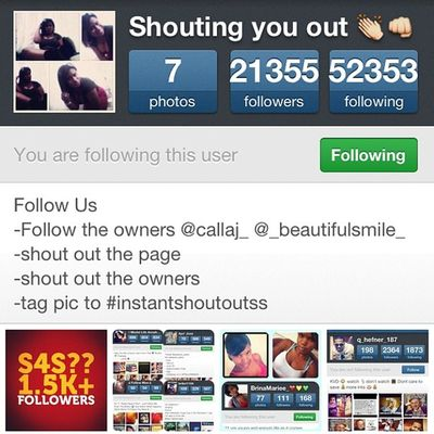 Shout out to @instantshoutoutss Mustfollow