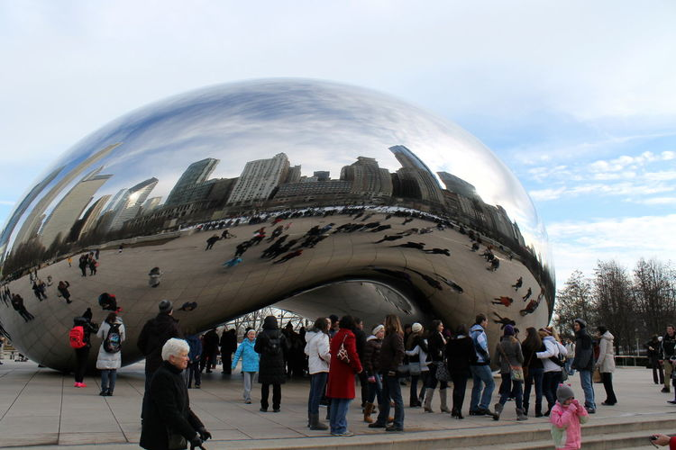 The bean Reflection Architecture Cloud Gate Large Group Of People Modern Sculpture Sky The Bean