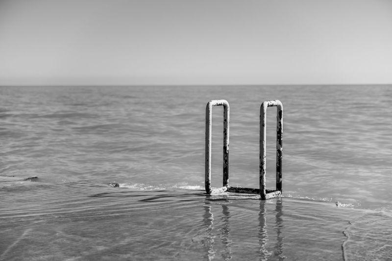 Swimming ladder in lake michigan