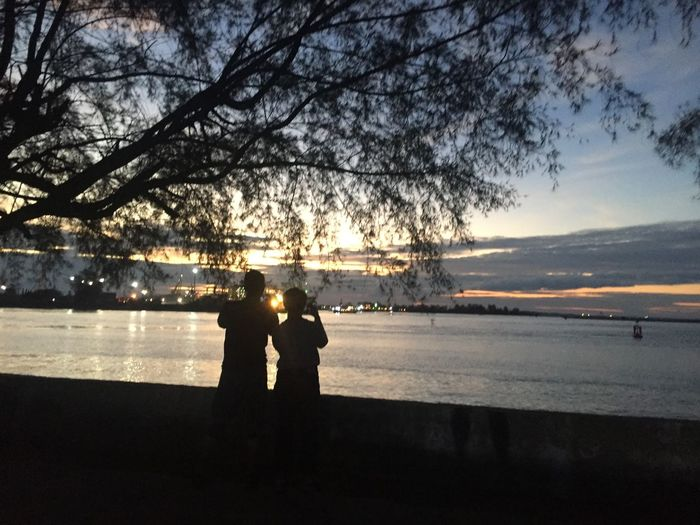 Silhouette man and woman standing by tree against sky