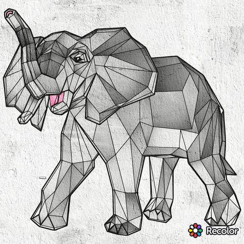 Gray Elephant Drawing Art Cool Pink