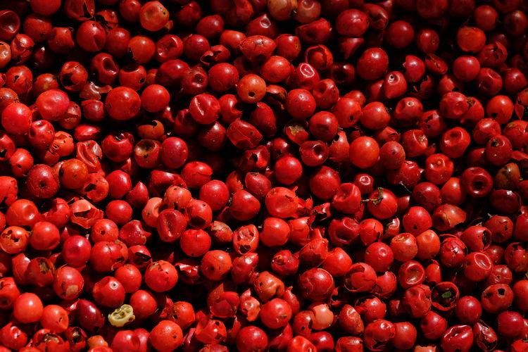 Full frame shot of red  peppercorns.