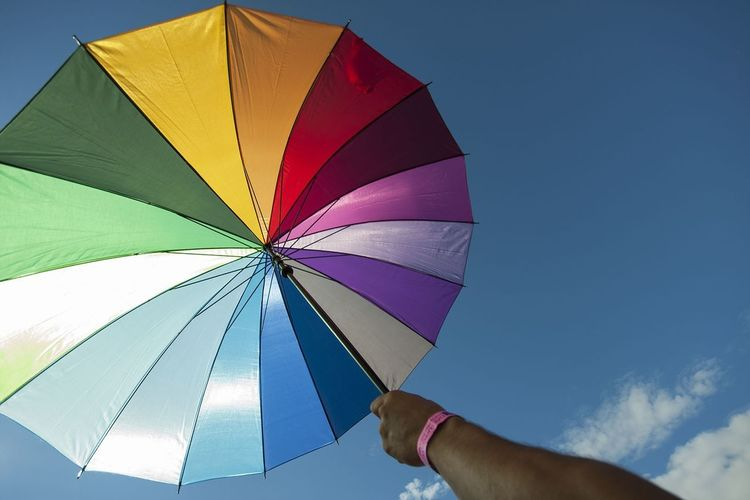 Pride Rainbow Umbrella Parasol Sky Blue Colours Hand People Happiness Joy Love Equality Festival Music