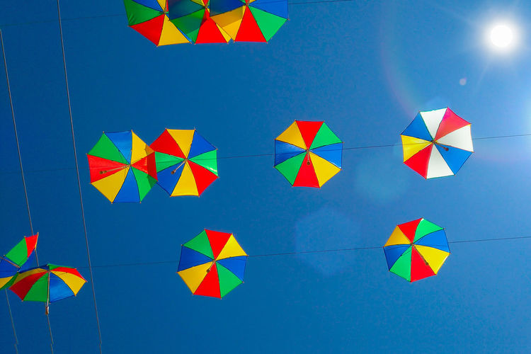 Blue Bunting Celebration Clear Sky Day Low Angle View Multi Colored No People Outdoors Sky Summer Exploratorium