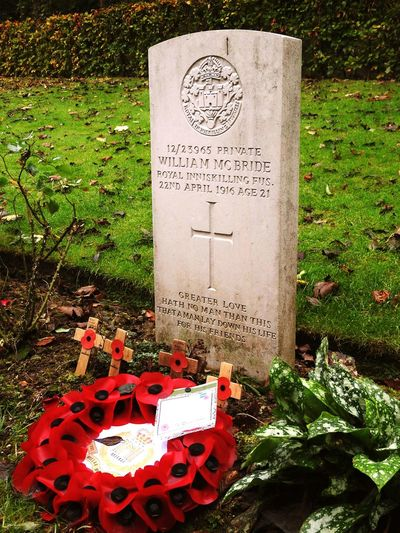 The resting place of William McBride. World War 1 Grave Folk Songs The Somme France Remembrance War Hero