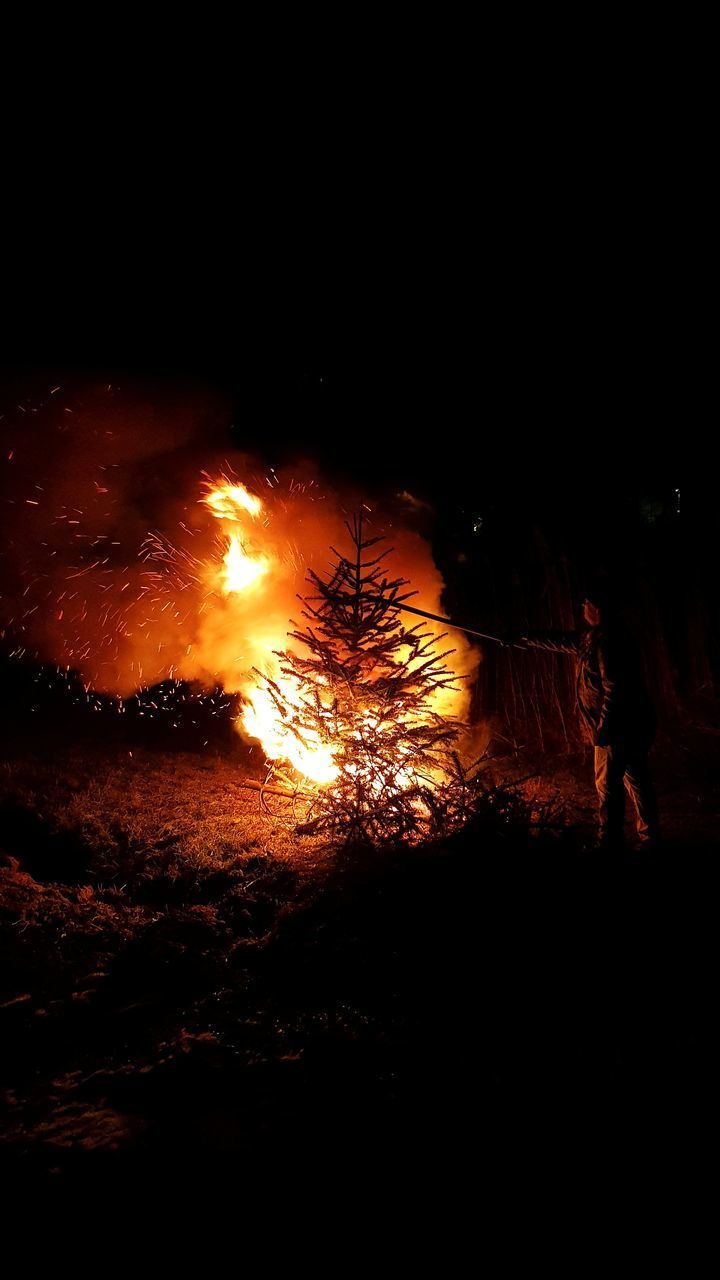 night, burning, flame, fire, heat - temperature, fire - natural phenomenon, land, nature, orange color, no people, glowing, motion, bonfire, environment, outdoors, forest, copy space, tree, campfire, dark, pollution