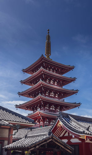 A 5 storied pagoda in Tokyo, Senso-Ji shrine Japan Shrine Stupa Tokyo Architecture Belief Buddhism Building Building Exterior Built Structure City Cloud - Sky Culture Low Angle View No People Pagoda Place Of Worship Religion Roof Shinto Sky Spirituality Tall - High Temple Travel Destinations