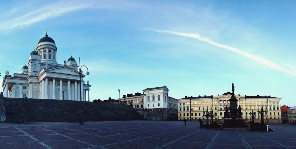 From a different perspective Helsinki Finland Tuomiokirkko Empty Places Empty Streets Dusk Senatesquare Senaatintori Panoramic Urbanphotography IPhoneography Walking Around Urban Landscape Architecture Clear Sky Blue Sky Cathedral Simple Edit Urban Geometry Urban Photography Showcase April
