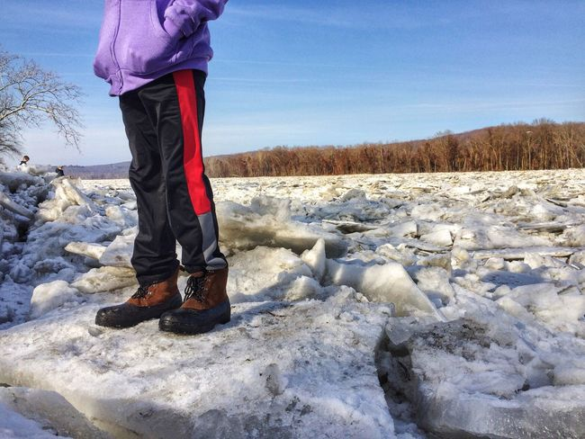 Riverbank River Ice Jam Taking Photos Tadaa Community One Person Standing Real People Low Section Winter Outdoors Day Cold Temperature Nature Warm Clothing