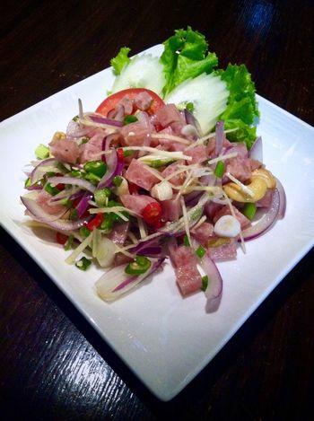 Thai sour pork sausage spicy salad : a mouthwatering starter or yummy appetizer. Spicy Food Thai Sausage Appetizer Close-up Day Delicious Food Food And Drink Freshness Healthy Eating Indoors  Meat Mouthwatering No People Plate Ready-to-eat Salad Sashimi  Serving Size Table Yummy