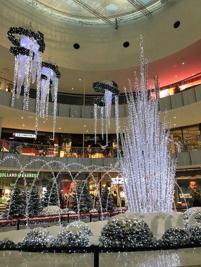 Mall of Scandinavia in Christmas time Christmas Tree Christmas Lights Bow Indoors  Mall Christmas Trees Penguins Ceiling Stockholm Sweden Godaminnen
