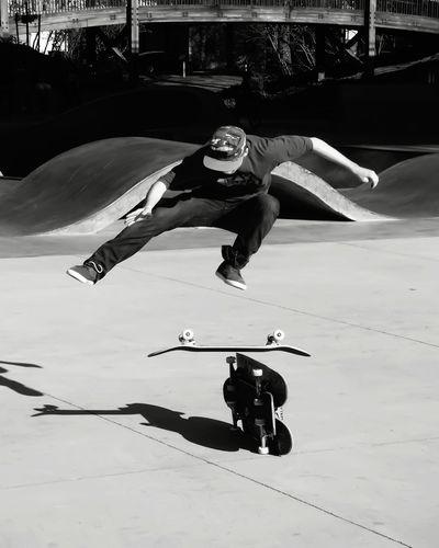 Teenage Skateboarded Jumping