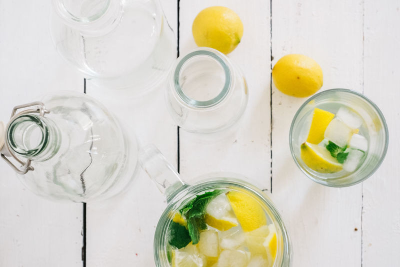 High angle view of lemonade