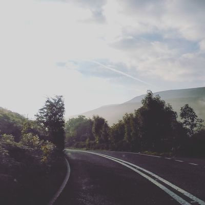 Misty morning England Fog Mist Snake Pass Peak District  Wilderness Outdoors Tree Road Car Sky Car Point Of View Empty Road Highway Country Road Mountain Road Dense Alpine Dashboard Glacial Windshield Car Interior Windscreen Foggy Asphalt vanishing point Road Marking Diminishing Perspective
